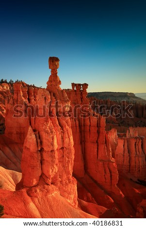 Thor's hammer at sunset from Sunset Point, Bryce Canyon, Utah. - stock photo