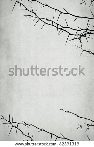 thorny branch isolated on vintage background - with space for your text - stock photo