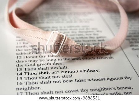 Thou shalt not commit adultery - part of the Decadent Decalogue series - stock photo