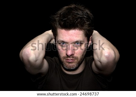 Though highlighted man working Sweat