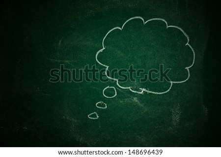 Thought balloon on a green chalkboard - stock photo