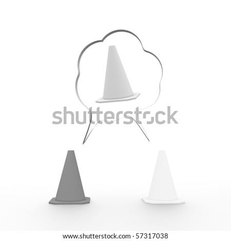 Thought bubbles with traffic cones; compromise, agreement concept - stock photo