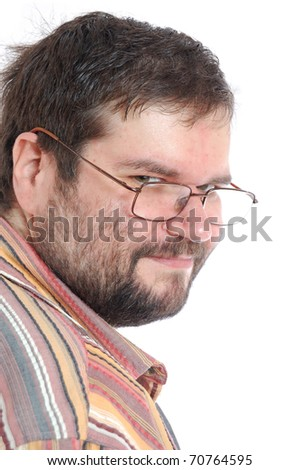 thoughtful adult man with glasses over white - stock photo