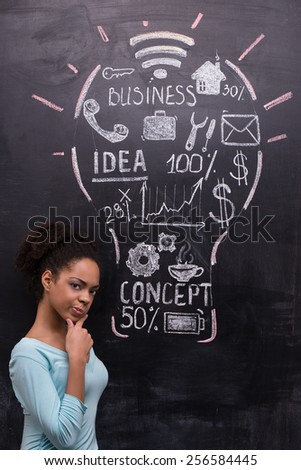 Thoughtful afro-american woman on chalkboard background looking at camera. Painted lightbulb with business ideas on chalkboard. Concept for success