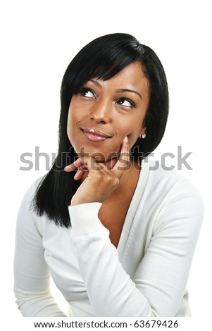 Thoughtful black woman looking up  isolated on white background - stock photo