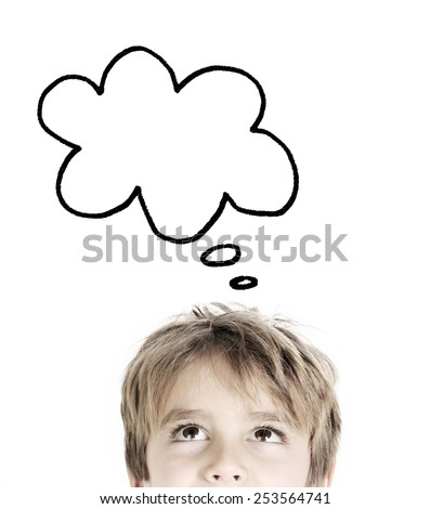 Thoughtful boy isolated on white background  - stock photo