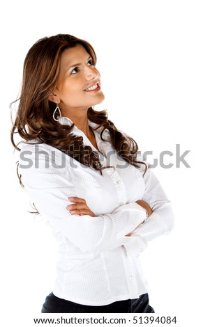 Thoughtful business woman isolated over a white background - stock photo