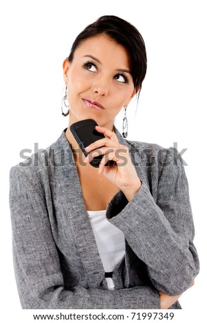 Thoughtful business woman - isolated over white - stock photo