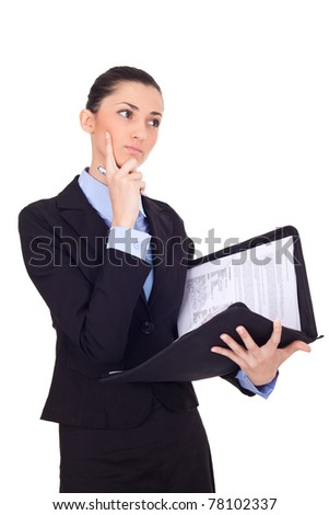 thoughtful business woman looking right, isolated over a white background - stock photo