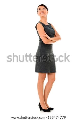 Thoughtful business woman looking up - isolated over white  - stock photo
