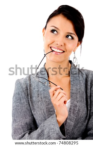 Thoughtful business woman smiling - isolated over white
