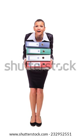 thoughtful business woman with documents