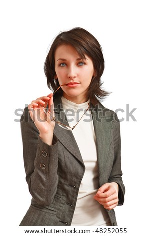 thoughtful business woman with glasses in hand - stock photo