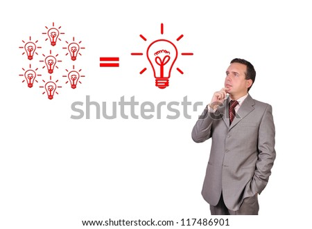 thoughtful businessman and lamp, idea concept