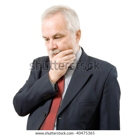 Thoughtful businessman on white background (isolated). - stock photo
