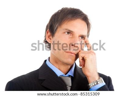 Thoughtful businessman portrait - stock photo