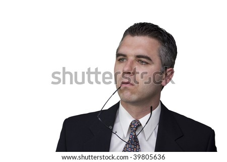 Thoughtful businessman (white background)