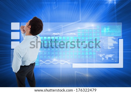 Thoughtful businessman with hand on chin against glowing background with squares