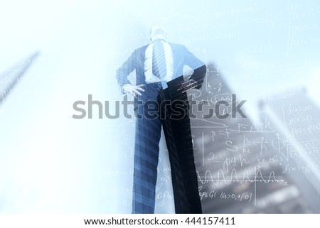 Thoughtful businessman with mathematical formulas on city and sky background. Double exposure