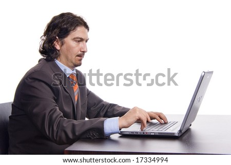 thoughtful businessman work on laptop, isolated on white