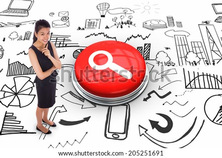 Thoughtful businesswoman against magnifying glass on white graphic background - stock photo