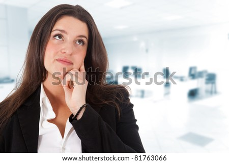 Thoughtful businesswoman portrait - stock photo