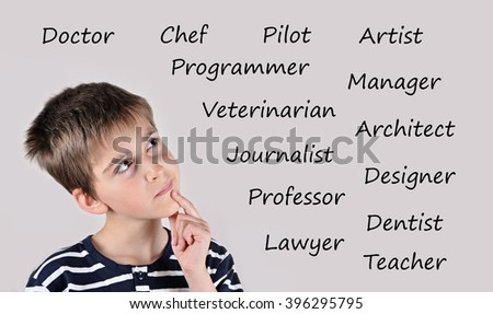 Thoughtful cute schoolboy thinking about future occupation - stock photo