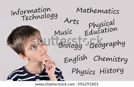 Thoughtful cute schoolboy thinking about school subjects - stock photo