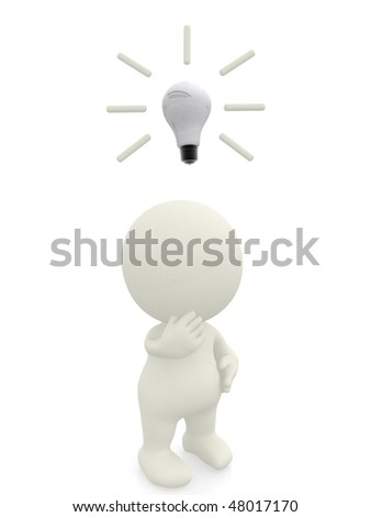 Thoughtful 3D man coming up with an idea isolated over a white background