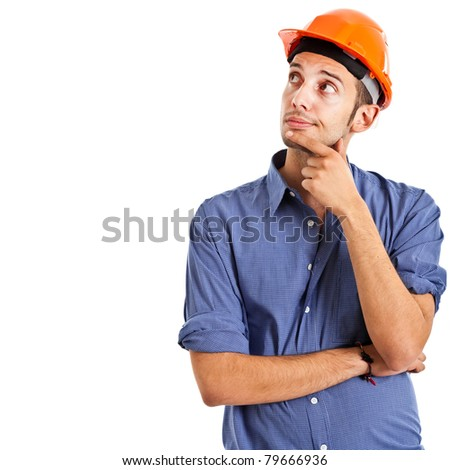 Thoughtful engineer isolated on white - stock photo