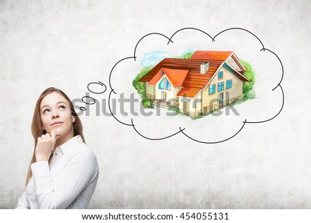 Thoughtful european businesswoman thinking about real estate on concrete background. Mortgage concept - stock photo