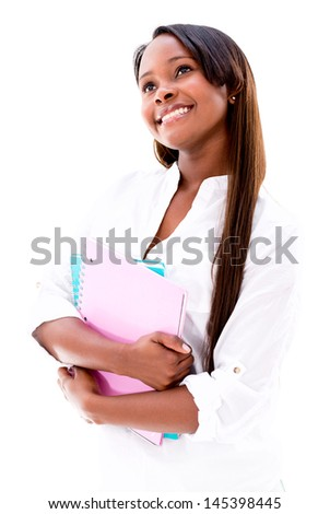 Thoughtful female student looking up - isolated over a white background - stock photo