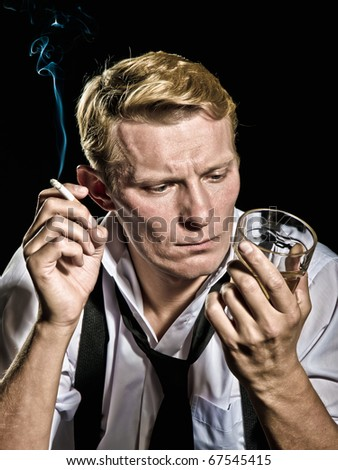 thoughtful  gangster - stock photo