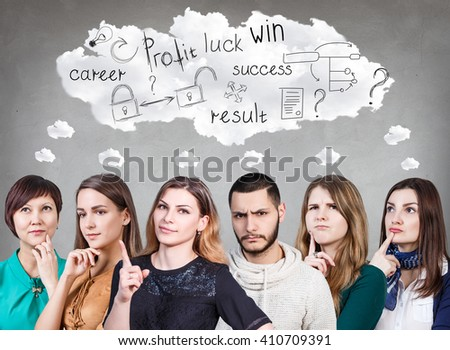 Thoughtful group of people and big cloud - stock photo
