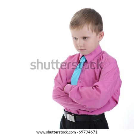 thoughtful little boy. Isolated on white background - stock photo