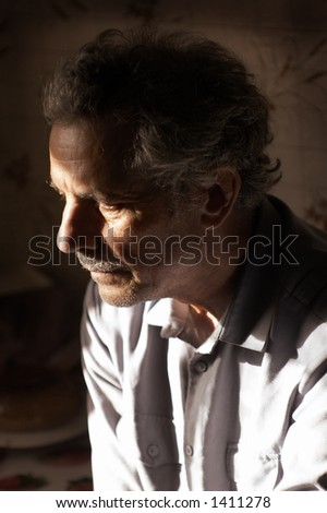 Thoughtful look. Old man. - stock photo