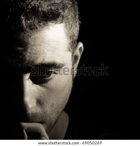 Thoughtful man - stock photo