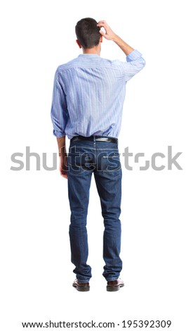 thoughtful man back - stock photo