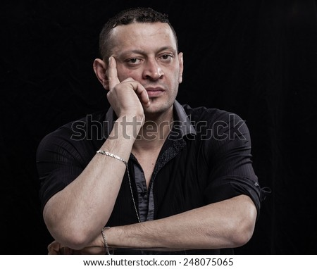 Thoughtful man portrait - stock photo