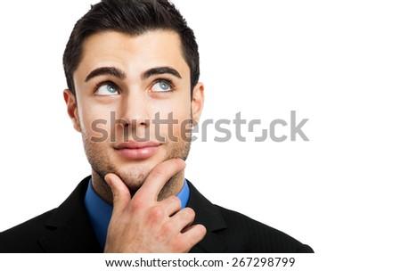 Thoughtful man portrait isolated on white - stock photo