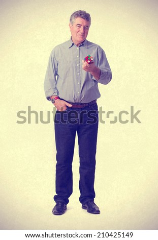 Thoughtful man solving a problem - stock photo