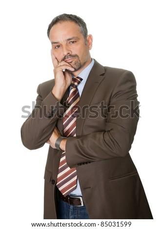 Thoughtful  mature businessman on white background - stock photo