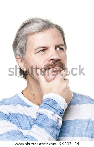 thoughtful mature caucasian man isolated on white background - stock photo