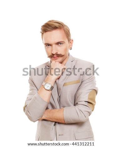 Thoughtful, pensive man isolated at white. Young man doubtful, solving problem. Caucasian male person thinking. Serious stylish guy with mustache consider some idea, search solution. - stock photo