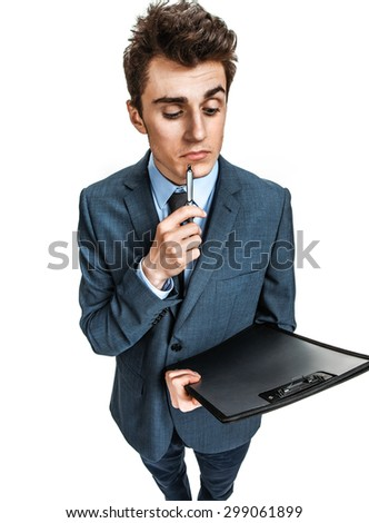 Thoughtful people / photos of young businessman wearing  a suit and tie over white background - stock photo