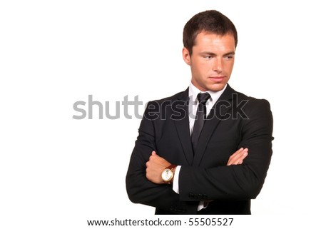 thoughtful sad business man - stock photo