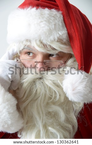 thoughtful santa clause - stock photo