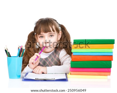 thoughtful schoolgirl looking at camera. isolated on white background - stock photo