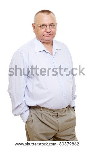 Thoughtful senior business wearing blue shirt and glasses standing over isolated background. Mask included - stock photo