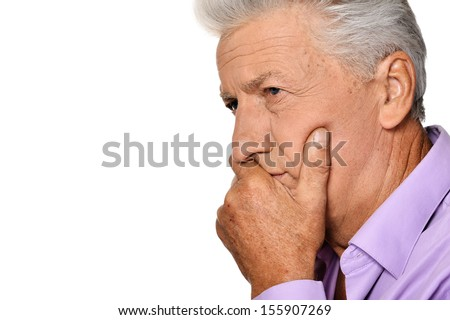 Thoughtful senior man isolated on white background